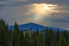 Vue de paysage de paysage des montagnes de Carpathiens Photos libres de droits