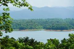 Vue de paysage de forêt de montagne sous le fond de nature de lumière du soleil photographie stock libre de droits