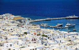 Vue de paysage urbain d'île de Mykonos Photo libre de droits