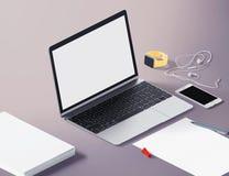 Vue de perspective d'ordinateur portable avec des outils de bureau Moquerie d'espace de travail  isométrique Photo stock