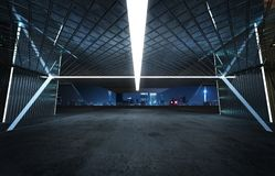 Vue de perspective de plancher vide de ciment avec l'extérieur de construction moderne d'acier et en verre illustration libre de droits