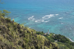 Vue de phare au-dessous de hau Hawaï de ` de Diamondhead O Photographie stock