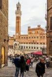 Vue de Piazza del Campo Photographie stock libre de droits