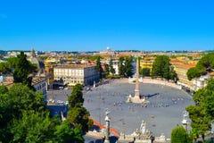 Vue de Piazza del Popolo avec Flaminio Obelisk dans le middl Photo stock