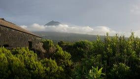 Vue de Pico par les vignobles aux Açores Photo stock