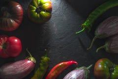 Vue de piment, de tomates multicolores et d'aubergine sur un espace libre gris de table Image stock