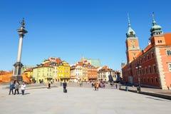 Vue de place de château avec la colonne de Sigismund dans la vieille ville à Varsovie, Pologne Image libre de droits