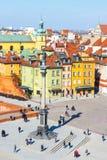 Vue de place de château avec la colonne de Sigismund dans la vieille ville à Varsovie, Pologne Photo libre de droits