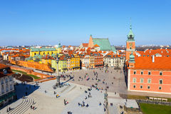 Vue de place de château avec la colonne de Sigismund dans la vieille ville à Varsovie, Pologne Image stock