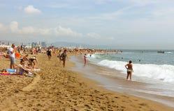 Vue de plage à Barcelone Images libres de droits