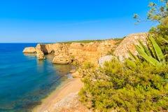 Vue de plage célèbre de Marinha Images stock