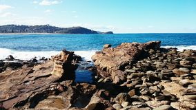 Vue de plage d'Avoca Photos libres de droits