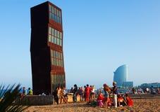 Vue de plage de Barceloneta dans la soirée d'été Image libre de droits