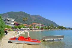 Vue de plage de Nydri, Grèce Photos libres de droits
