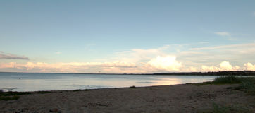 Vue de plage de soirée Photos stock