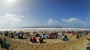 Vue de plage de Supertubos dans le Rip Curl pro 2010 Photos libres de droits