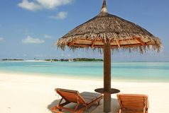 Vue de plage des Maldives Photos stock