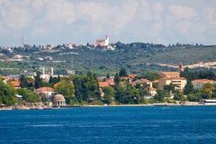 Vue de plage et de côte de Zadar Kolovare Images libres de droits