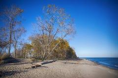 Vue de plage de parc national de Pelee de point dans le fal, le lac Érié, O Image libre de droits