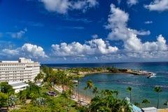 Vue de plage San Juan d'Escambron image stock