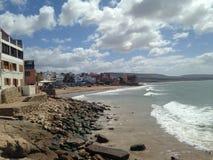Vue de plage de Taghazout Photos libres de droits