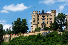 Vue de plan rapproché au château de Hohenschwangau Images stock