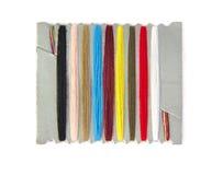 Vue de plan rapproché des fils de couture multicolores dessus Images libres de droits