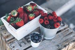 Vue de plan rapproché des fraises, des framboises et des myrtilles juteuses dans une boîte en bois photos stock