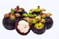 Vue de plan rapproché des mangoustans de fruit tropical d'isolement sur le fond blanc Photo libre de droits