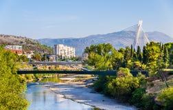 Vue de Podgorica avec la rivière de Moraca Photos libres de droits