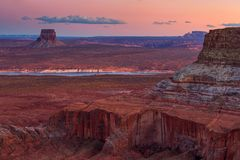 Vue de point d'Alstrom, lac Powell, page, Arizona, Etats-Unis image libre de droits