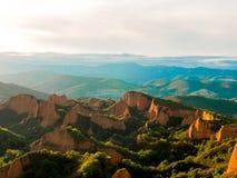 Vue de point de vue d'Orellan à l'extraction de l'or historique de Las Medulas Image stock