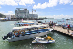 Vue de point de Jesselton, Kota Kinabalu, Sabah, Malaisie Photographie stock libre de droits