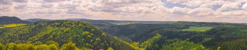 Vue de point de vue de Bastei dans Saxon Suisse Allemagne images stock