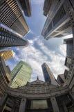 vue de Poisson-oeil de l'horizon de Singapour Photographie stock