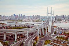 Vue de pont de Changhaï Nanpu, Changhaï, Chine vue de pont de Changhaï Nanpu, Changhaï, Chine photographie stock libre de droits