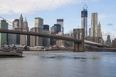 Vue de pont de Manhattan et de Brooklyn Images libres de droits