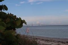 Vue de pont de Skyway de soleil de parc de DeSoto de fort, la Floride photos stock