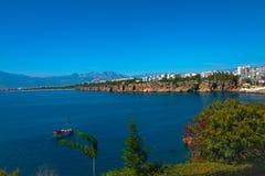 Vue de port d'Antalya, de mer Méditerranée et de littoral, Antalya Images libres de droits