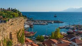 Vue de port d'Antalya, de mer Méditerranée et de littoral, Antalya, Photographie stock libre de droits