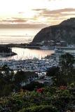 Vue de port de Dana Point du coucher du soleil photographie stock