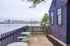 Vue de port de Salem de vieille maison à Salem Image stock