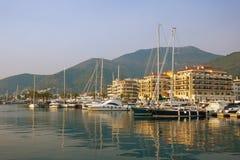 Vue de Porto Monténégro - marina de yacht de service complet en Adriatique Tivat, Monténégro Images libres de droits