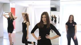 Vue de portrait des femelles posant à l'école modèle clips vidéos