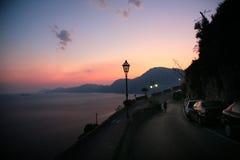 Vue de Praiano de coucher du soleil Photos stock