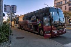Vue de Prevost voyant l'autobus à Montréal image libre de droits