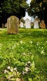 Vue de printemps de vieilles pierres tombales vues dans un cimetière anglais photo stock