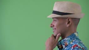 Vue de profil de plan rapproché de la pensée de touristes ethnique multi heureuse d'homme banque de vidéos