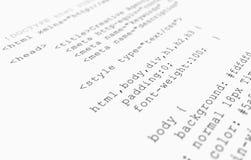 Vue de programme de lecture de code de HTML de site Web sur le fond blanc Images libres de droits