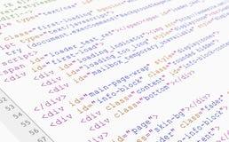 Vue de programme de lecture de code de HTML de site Web sur le fond blanc Photographie stock libre de droits